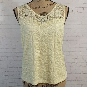 SOIEBLU Yellow Lace Sleeveless Shirt